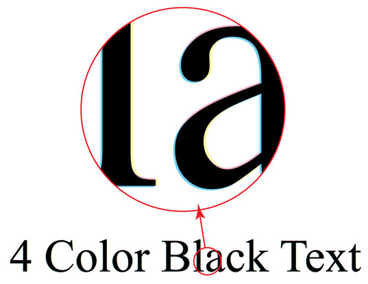 4 color black text has other colors cyan magenta yellow